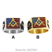 Wholesale American Flag Masonic Biker Ring Stainless Steel Jewelry Silver & Gold, Gold USA Flag Motor Biker Men Ring SWR0634
