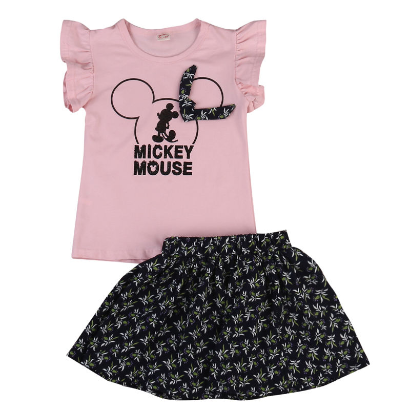 1-5T Toddler Baby Girl Minnie Mouse T-shirt top+Skirt Clothing Outfit Set Short Sleeve T Shirts+Floral Skirt Summer Cute Clothes brand fashion kids summer slim top mickey kid t shirt minnie mouse boys clothes shirts cotton short sleeve tee shirt