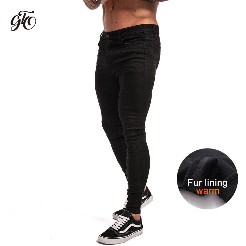 GINGTTO Skinny   Jeans   Men Winter Warm Fleece Black Denim Pants Stretch Men's   Jeans   Male Slim Fit Fashion Elastic Waist zm12