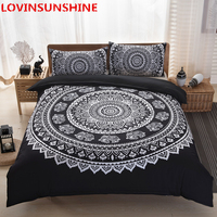 LOVINSUNSHINE Black Mandala Flower Duvet Cover Set With Pillowcase Bohemia boys Bedding Set Queen Size Bedspread 3Pcs duvet set