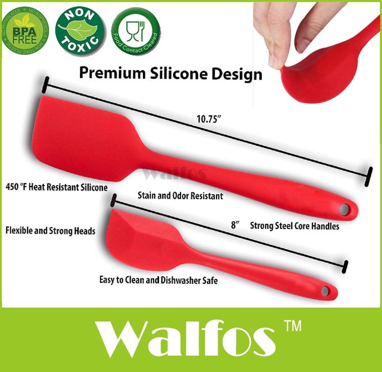 WALFOS, set de espátula de silicona para cocinar mantequilla antiadherente de calidad alimentaria, espátula de silicona para horneado de pastel de cocina, espátula de silicona