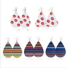 Korean stripe Leather Drop Earrings For Women Trendy Teardrop Pu Fashion Jewelry Gifts Accessories