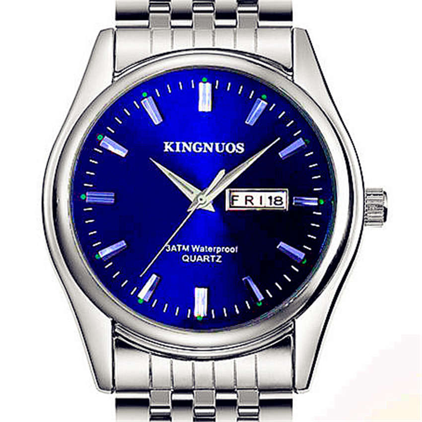 New Men Steel Watch Top Luxury Brand KINGNUOS Clock Famous Male Men Wrist Watches Fashion Quartz 2018 For Men Hodinky Relogio relogio masculino kingnuos brand leather wrist watches for men hodinky male clock date calendar men s quartz watch reloj hombre