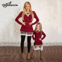 Family Look Mother Daughter Solid Lace Long Sleeves Dress Girls Spring Autumn Casual Dresses Polyester O