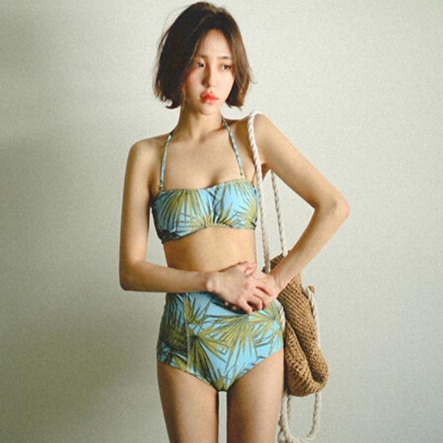 f3dfdfbc4e Korea s New Style leisure beach High waist leaves cute women swimsuit Bikini  set Palm pattern two pieces suit Cropped Tube suit