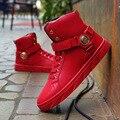 Top de Moda de Alta Top Sapatos Casuais para Homens de Couro PU Rendas Até 6 estilo Mens Sapatos Casuais Dos Homens De Alta Top Sapatos Mais Sapatos Tamanho US8-US13