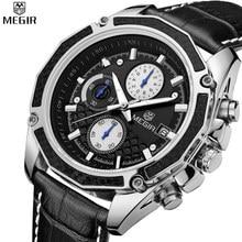 MEGIR Men Chronograph Multifunction Waterproof Genuine Leather Hot Sale Casual Watches Military Quartz Watches Relogio Masculino