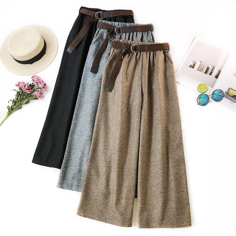 Wasteheart Autumn Khaki Black Gray Pleuche   Wide     Leg     Pants   Loose Ankle Length Casual Women   Pants   Plus Size Elastic Keep Warm
