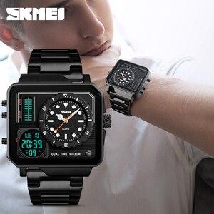 Image 5 - Часы наручные SKMEI Мужские кварцевые, роскошные модные цифровые аналоговые спортивные повседневные водонепроницаемые из нержавеющей стали