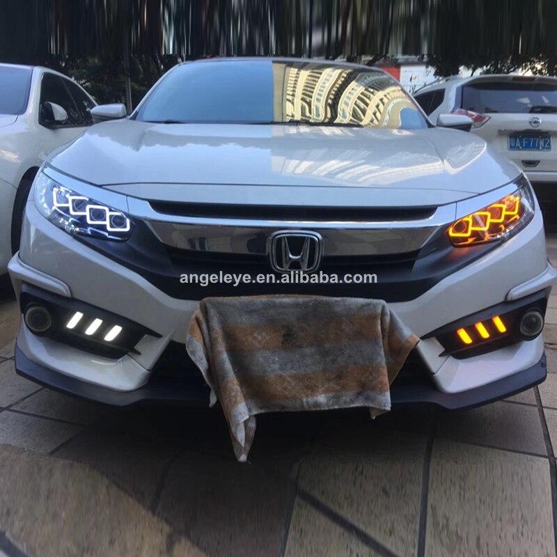 For Honda Civic Full Led Headlight 2016-2017 Year For BUGATTI Style Front Lamp JL