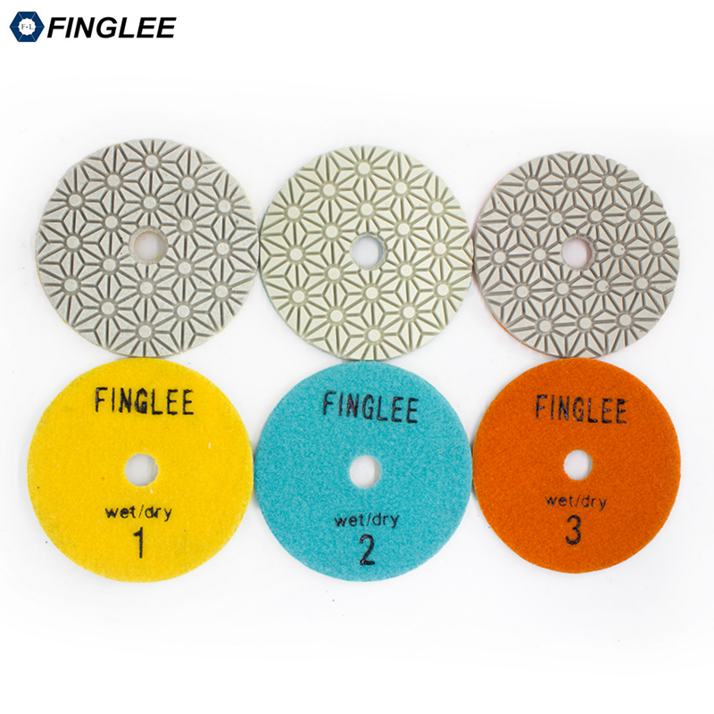 FINGLEE 3 Step Diamond Dry Polishing Pad 4 inch/100mm Diamond Resin discs for Granite Marble Quartz цена