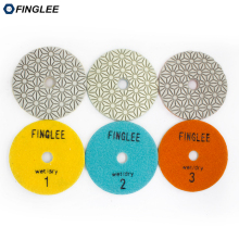 3 Step Polishing Pad 4 inch/100mm Quartz Diamond Pads Premium Stone Circle Resin Wheel for Granite Marble