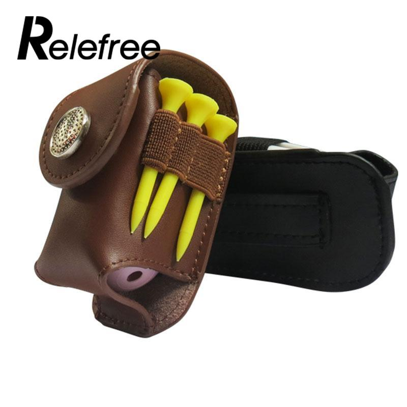Relefree Mini Portable Leather Clip On Golf Ball Holder Pouch Bag Hold 2 Balls Golfer Aid Tool Gift Brown