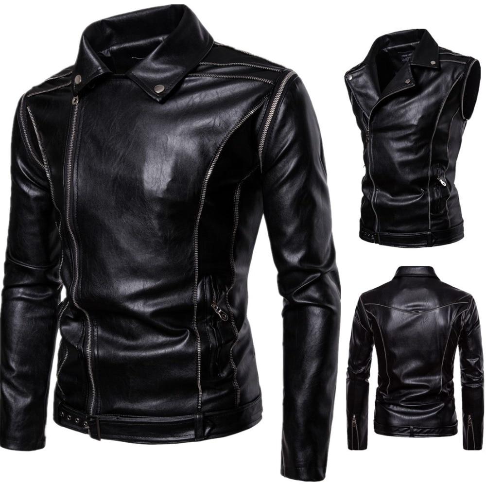New Vintage Motorcycle Jacket Genuine Leather Turn-down Collar Classic Punk Biker Moto Jacket Slim Biking Riding Jacket Coat мужские кожанные куртки с косой молнией