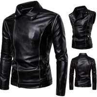 New Vintage Motorcycle Jacket Genuine Leather Turn-down Collar Classic Punk Biker Moto Jacket Slim Biking Riding Jacket Coat