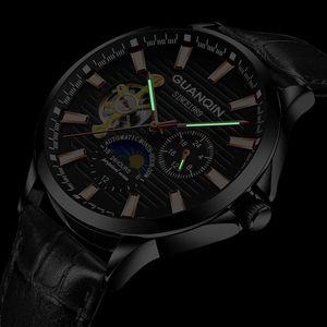 Image 2 - GUANQIN 2018 שעון גברים זוהר שעון גברים אוטומטי עמיד למים מכאני עור רוז זהב שלד עסקי relogio masculino
