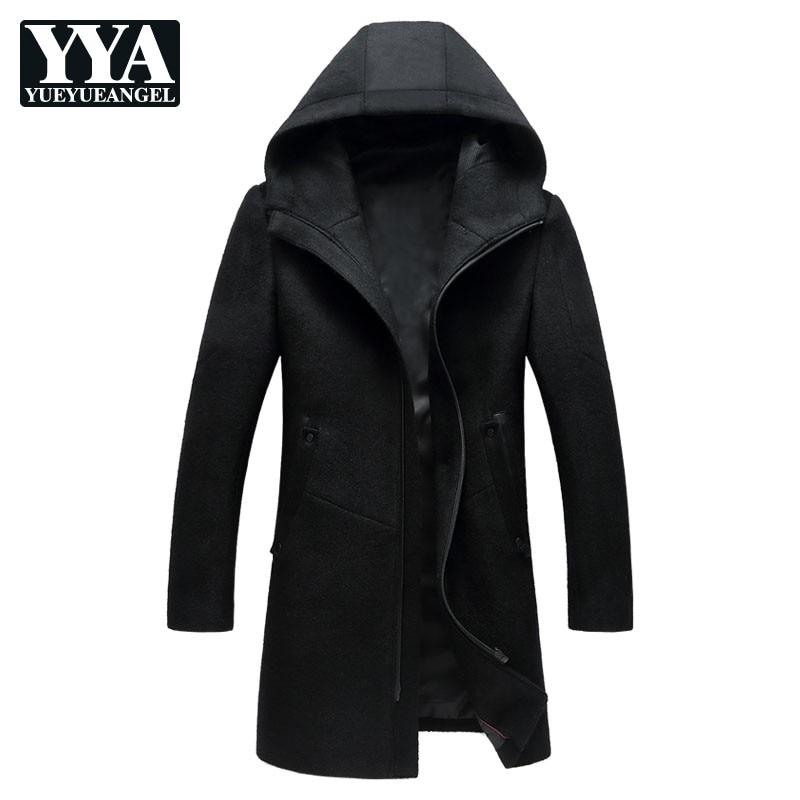 Fashion Mens Slim Fit Coats Winter Pocket Zipper Mens Long Coat Casual Hooded Outerwear Woolen Coats Plus Size M-3XL