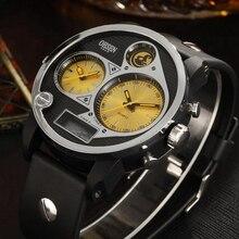 OHSEN Brand Digital Quartz Men Fashion Wristwatches montre homme Two zone display Rubber band Yellow