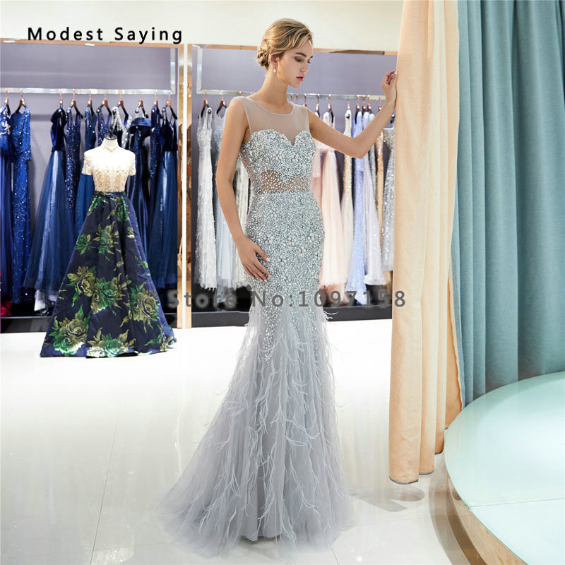 Luxury Silver Mermaid Ostrich Feather Evening Dresses 2019 With