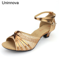 Women Latin Ballet Peep Toe Lycra Sequin Bling Ankle Wrap Shoes Gold Black Outdoor d Shoes for Ladies Uninnova WSA079