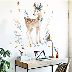 Bedroom Wall decor Deer wall stickers for kids rooms Door stickers muraux Home Living room house Decoration Accessories(China)