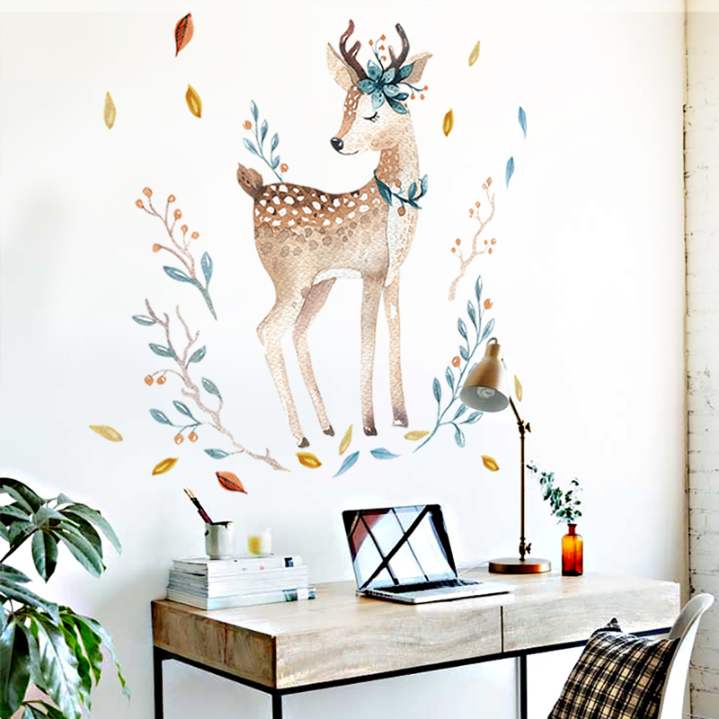 Bedroom Wall decor Deer wall stickers for kids rooms Door stickers muraux Home Living room house Decoration Accessories