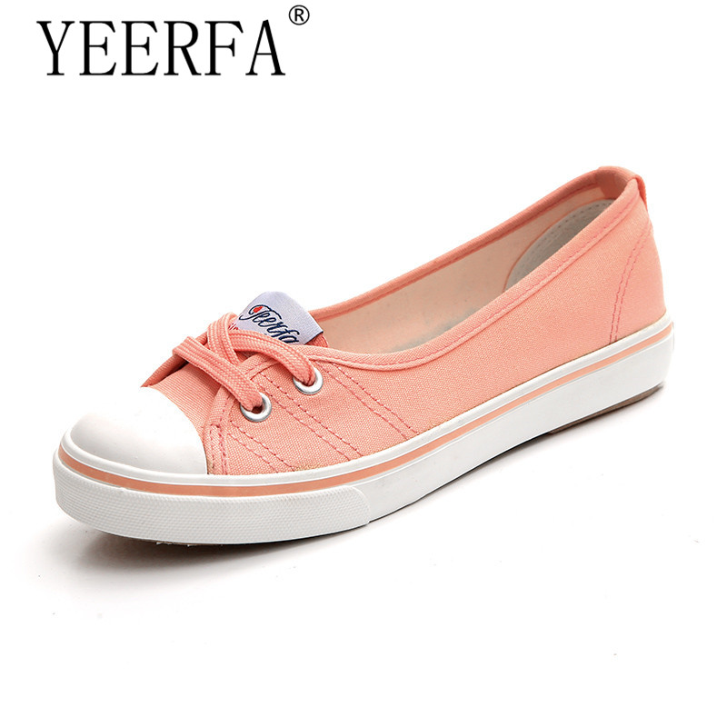 YIERFA spring autumn Women shoes canvas shoes comfortable shoes slip-on Korean tide students set foot flat shoes size 35-40 2017 spring and autumn hot selling women s comfortable diabetic shoes foot swollen foot care shoe breathable flat bunion shoes