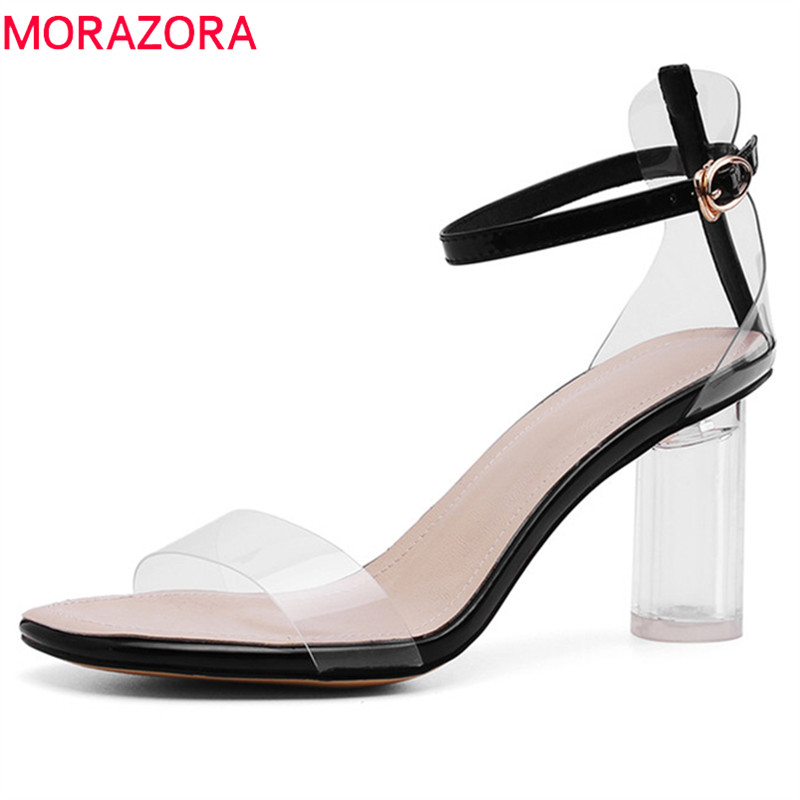 MORAZORA 2019 hot sale women sandals genuine leather summer shoes buckle crystal high heels shoes woman party wedding shoes