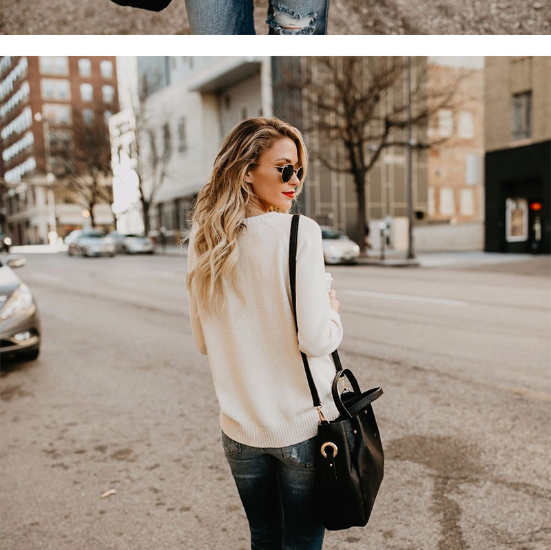 18 new winter white knitted sweater Women lantern sleeve loose gray pullover female Soft warm autumn casual love heart jumper 4
