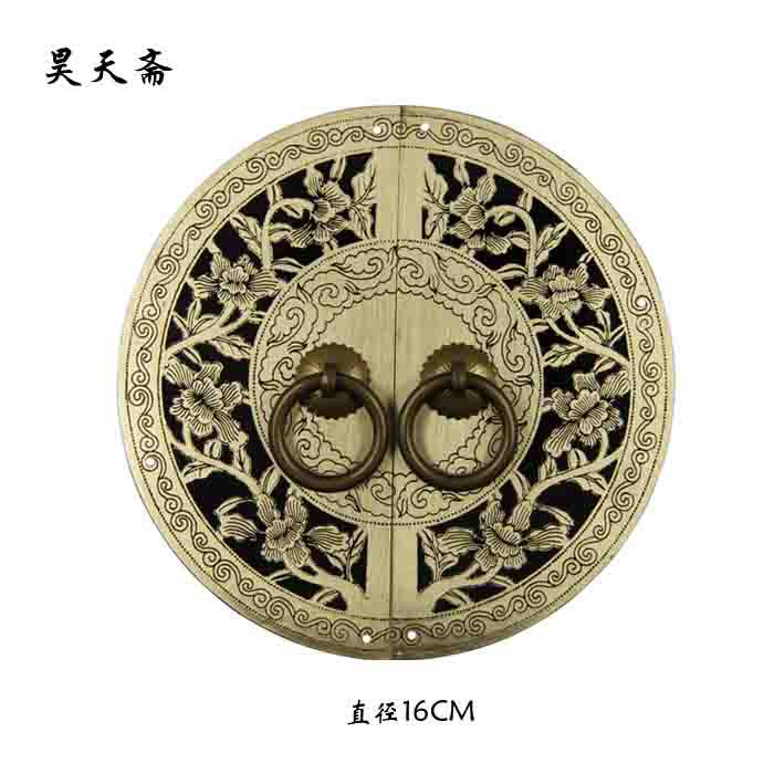 [Haotian vegetarian] bronze Chinese antique furniture, Ming and Qing copper door handle lock piece rich with management chaos шапка tower