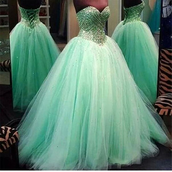 Long prom dress 2019 Mint Green Amazing Heavy Crystals by hand Tulle Vestido de festa Women prom dresses Lace Up