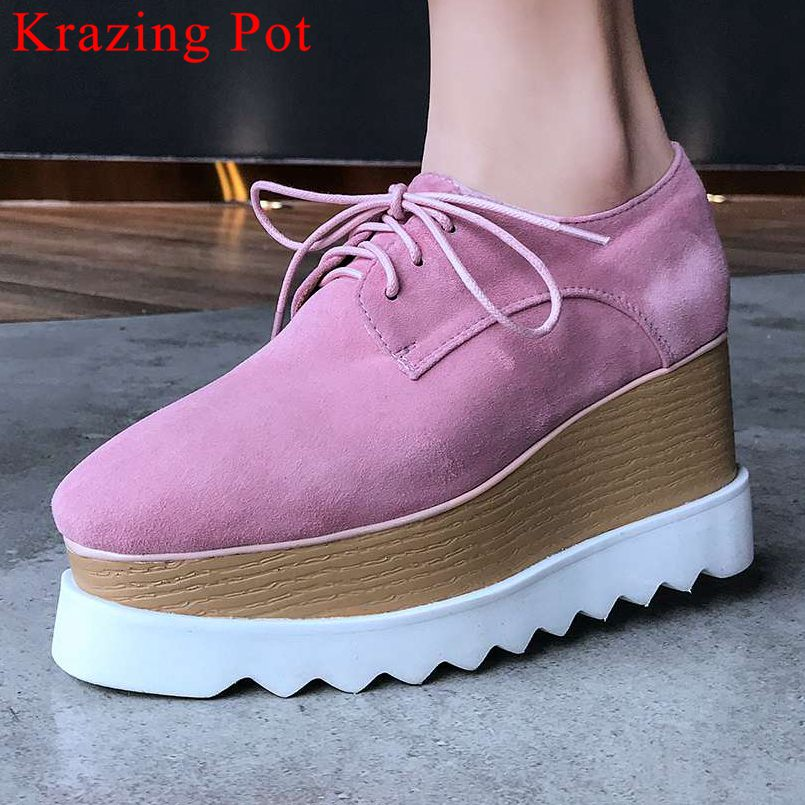 2019 European Punk style plus size square toe waterproof high heels pumps natural leather lace up party dating casual shoes L23 - 1