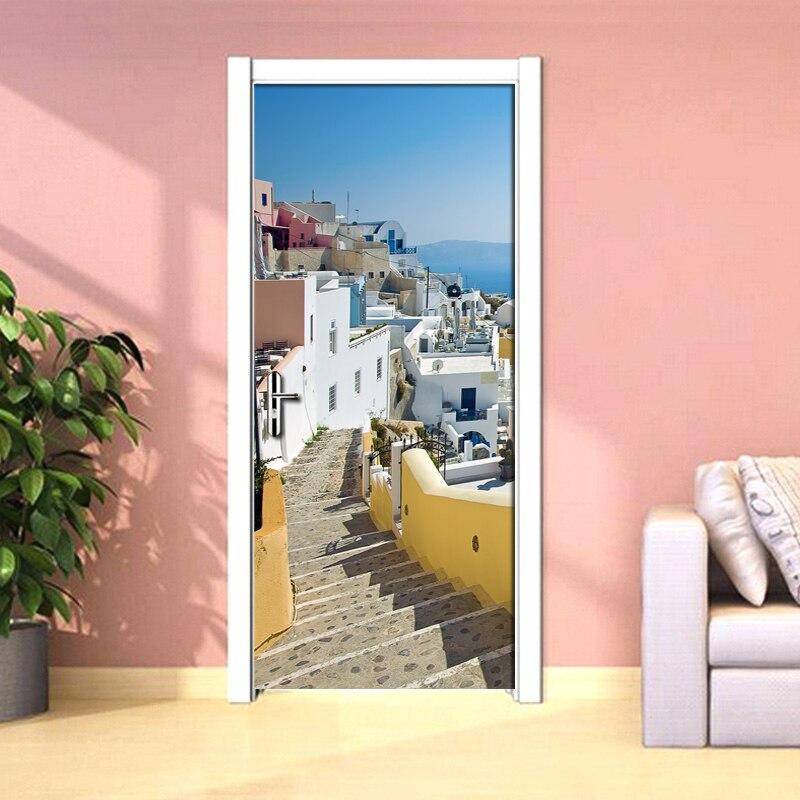 Living Room Bedroom Door Mural Sticker European City Landscape Ladder PVC Waterproof Self-adhesive Door Decoration 3D Wallpaper