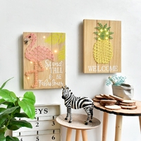 Nordic Wall Decoration Flamingo Pineapple with Lamp Yarn Painting Wall Ornament Creative Home Living Room Wall Decor Accessories