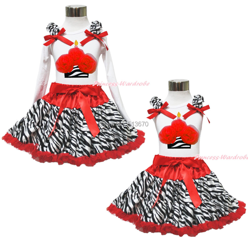 White Top Xmas Zebra Red Birthday Cupcake Pettiskirt Baby Girl Cloth Outfit 1-8Y MAPSA0596 xmas red orange yellow black roses brown top baby girl pettiskirt outfit 1 8y mapsa0038