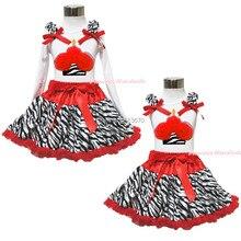 Белый верхний зебра красный день рождения кекс юбка девочка ткань наряд 1-8Y MAPSA0596