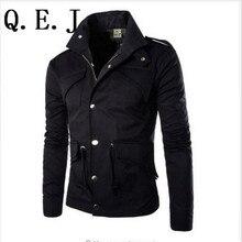 Q.E.J Free shipping 2017 winter British Style Trench Coat Men Zipper Men's Jackets Brand Outdoors Overcoat Black Mens Jacket