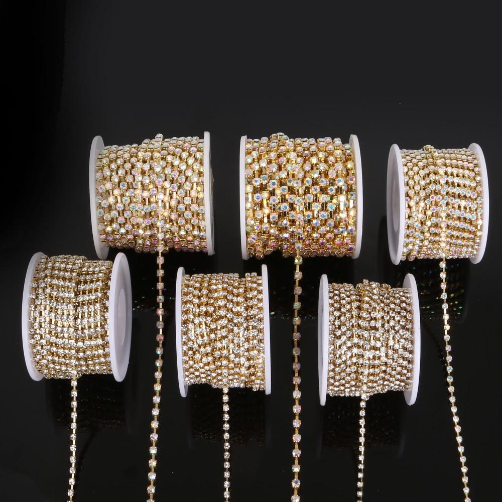 Aliexpress Com Buy 1440pcs Gold Bottom Crystal Clear: Aliexpress.com : Buy 10 Yards/Roll Gold Base Clear/White