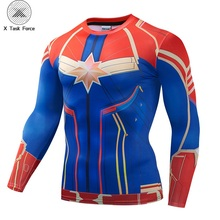 Captain Marvei 3D Printed T shirts Men Compression Shirts 2019 Long Sleeve Pattern Tops Male Comics Cosplay Costume Cloth S-4XL