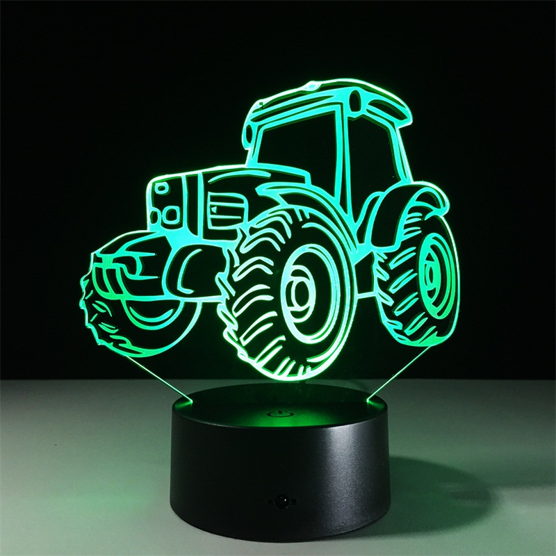 Free shipping Tractor LED Night Light 3D Lamp 7 Colors Changing Remote Touch Switch Decorative Car Table Lamp Living Room Lights 3d tiger shape led color changing decorative night light