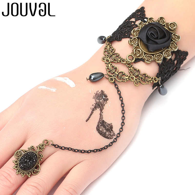 JOUVAL Gothic Bracelet for Women Black Lace Finger Chain Bracelet&Bangle Rose Charm Steampunk Jewelry Lady Vintage Accessory
