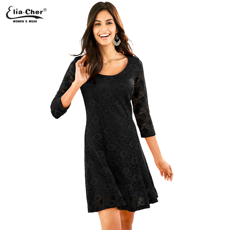 448b60e9fc0 Womens Elegant Sexy Lace See Through Tunic Casual Dress Skater A-Line Party  Dress Autumn Winter Vintage Dress Vestidos 8829