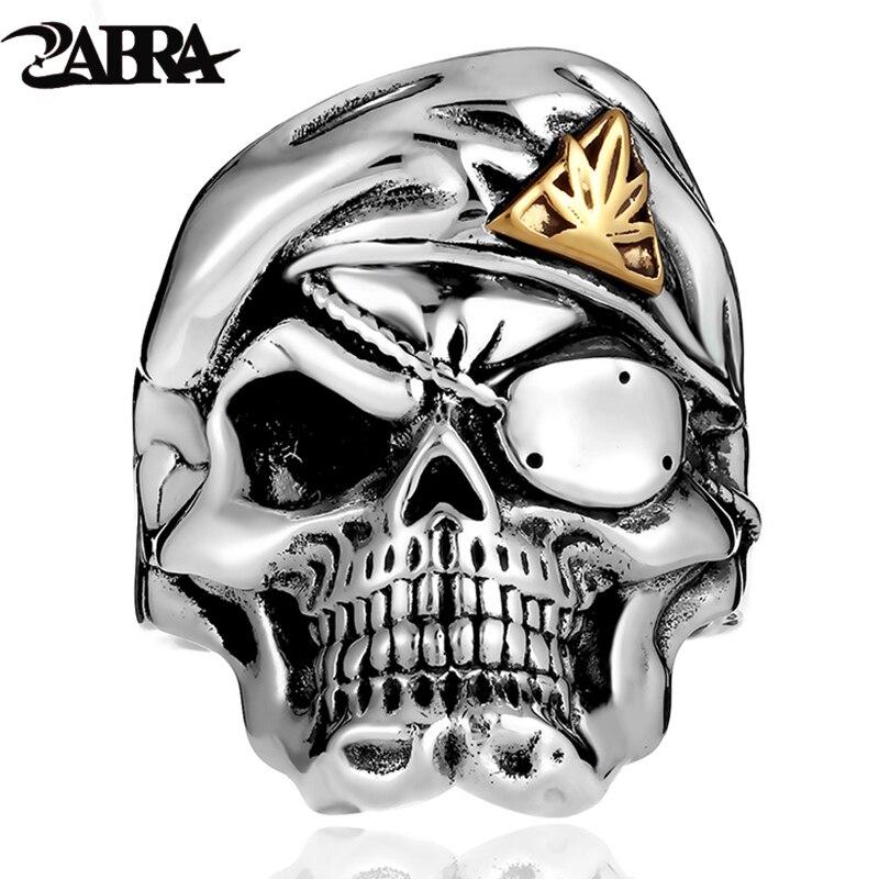 ZABRA Solide 925 Argent Un masque pour les yeux bague en forme de crâne Pour Hommes Haute Poli Vintage Punk bagues de motard Argent Homme bijoux gothiques Pour Hommes