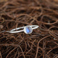 GZ Moonstone Ring 925 Sterling Silver Round Blue stone anillos Male Vintage S925 Thai Silver Rings for Women Jewelry