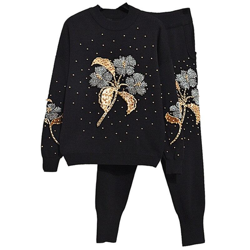 High Quality Fashion Winter Two Piece Set Women s Beading Pullover Sweatshirt Pants Suit Set Sportswear