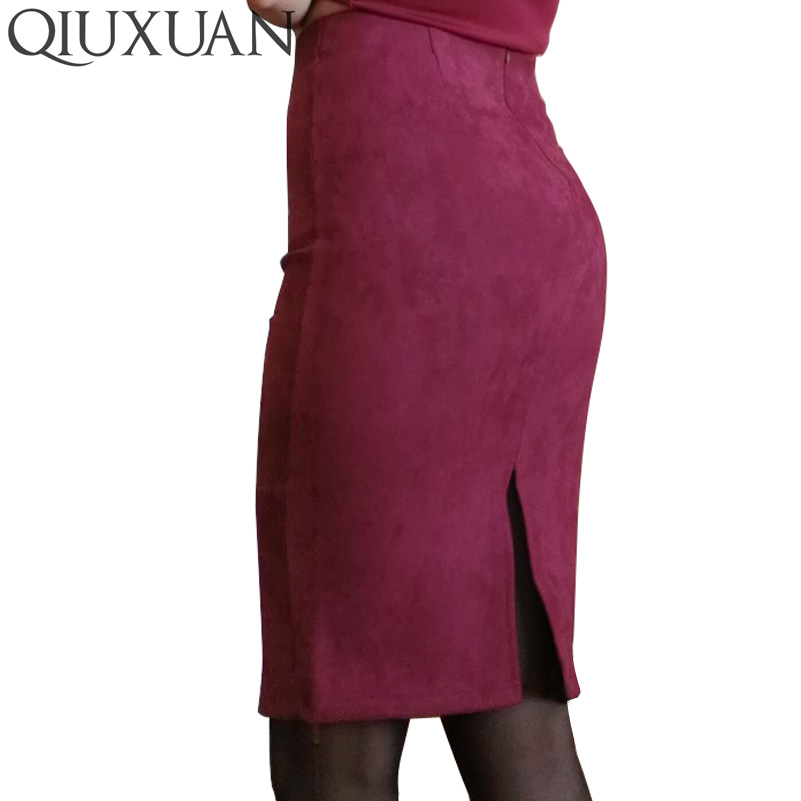 Qiuxuan Office Lady Work Casual Pencil Skirt 2019 Faux Suede High Waist Zipper Knee Length Skirts Stretch Midi Skirt Plus Size in Skirts from Women 39 s Clothing