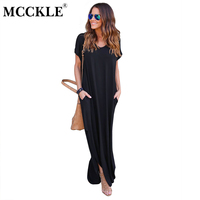 MCCKLE Women S Solid Causal Long Maxi Dress Split Front Pockets Dresses 2017 Autumn Cotton Short