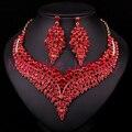 Новый Красный Горный Хрусталь Ювелирные Изделия Позолоченные Свадебный Комплект Ювелирных Изделий Для Невесты Ожерелье Серьги Свадебные Аксессуары Партия Подарок Для Женщин
