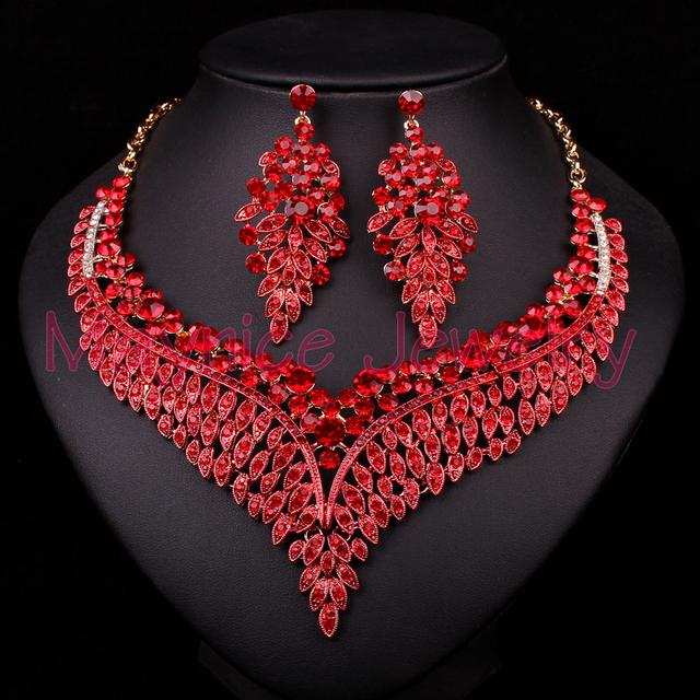 New Red Rhinestone Jóias Banhado A Ouro Conjunto De Jóias de Noiva Para As Noivas Festa de Casamento Colar Brinco Acessórios Presente Para As Mulheres