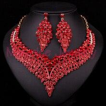 Nueva Red Rhinestone del Oro de la Joyería Nupcial Conjunto de Joyas Para Novias Collar Pendiente Accesorios de Regalo Del Banquete de Boda Para Las Mujeres